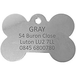 Personnalisé Médaille pour Chien en Acier Inoxydable en Forme d'Os (Grand) | Service DE Gravure | Médaille pour Animal Domestique Personnalisée avec Gravure Laser