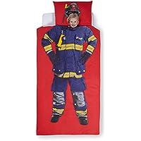 Aminata Kids – Bettwäsche 135x200 cm Kinder Jungen Feuerwehrmann Baumwolle + Reißverschluss Rot Blau Gelb Kinderbettwäsche Feuerwehr Schutzanzug Jungs 2-teiliges Bettwäscheset Bettbezug Ganzjahr