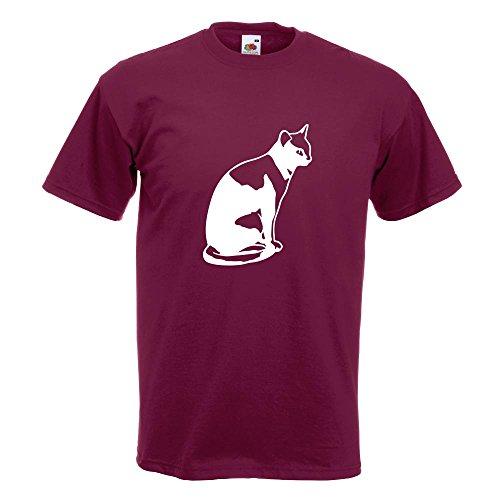 KIWISTAR - Katze sitzend Cat T-Shirt in 15 verschiedenen Farben - Herren Funshirt bedruckt Design Sprüche Spruch Motive Oberteil Baumwolle Print Größe S M L XL XXL Burgund