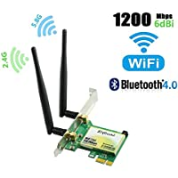 Ziyituod Gigabit WiFi Card,Wireless Network Card,PCIe WiFi Card,802.11 AC Dual-Band 1167Mbps(5Ghz-867Mbps/2.4Ghz-300Mbps) Network Card with Bluetooth 4.0, Wi-Fi Adapter Card for PC Desktop(WIE7265)