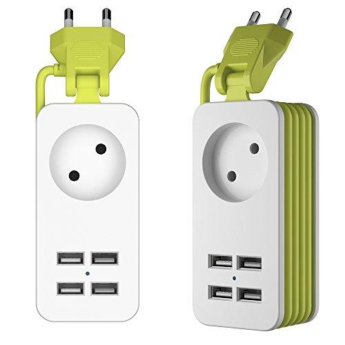 Regleta Enchufes con 4 USB Puertos (5V/10A) Inteligente Tecnología IC con Múltiples Protección Carga para Samsung IPad Iphone Tablets Smartphone Telefonos y Otros Dispositivos