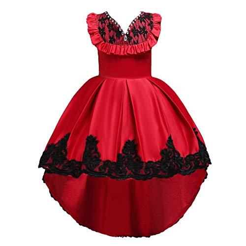 Dünne Floral Lace Patchwork Mädchen Kleid V-Ausschnitt Unregelmäßiger Saum Prinzessin Girl Bow Dress Sie sehr vorteilhaft (Color : Rot, Size : 140) (Prom Kleider Stock Länge)
