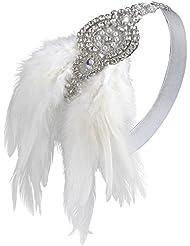 Babeyond 1920s Stirnband Flapper Stirnbänder 1920er Jahre Große Gatsby Stil Brautfeder Kopfschmuck