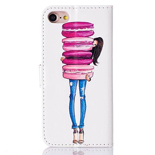 PU Pelle Custodia per iPhone 7 (4.7 pollici), DaGeLon Flip Cover Portafoglio Cassa con Funzione di Supporto e Slot per Schede Caso Protettivo Case Antiurto - ( Farfalla & Rosa ) stile 1 - Hamburger Ragazza