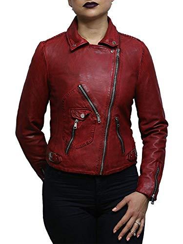Brandslock Damen Echtes Leder Ausgestattet Biker Jacke (Small, Rot) - 2