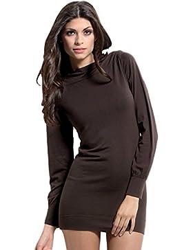 Vestito Maximaglia manica lunga scollo a barchetta calda soffice Lana Angora Cachemire Abito in maglia SENZA CUCITURE...