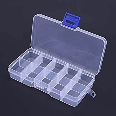 Demiawaking 10 Grids Storage Box with Lids, Transparent Fishing Lure Box Plastic Case Jewellery Earings Crafts Tool Hardware Container Organizer from Demiawaking