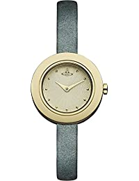 Vivienne Westwood Women's Quartz Watch with Gold Dial Analogue Display and Grey Leather Strap VV097GDGY
