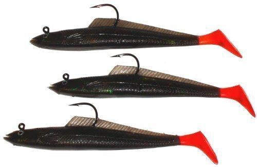 Sidewinder Sandaal-Köder / Angelköder, 25g, 15cm (6Zoll), 3 Stück rot Jet / Red (3 Stück Sidewinder)