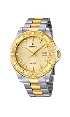 Festina Vendome F16683/2 - Reloj analógico de cuarzo para mujer, correa de acero inoxidable chapado multicolor (agujas luminiscentes) de Festina