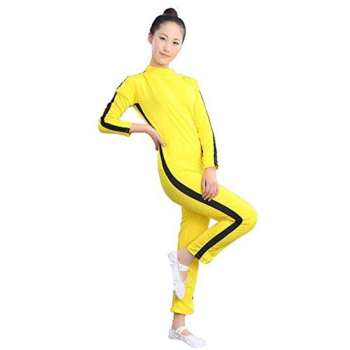 ZooBoo Kung Fu Kampfsport Body-Anzug - Hollywood Kampf Film Kung Fu Super Star Bruce Lee Kostüm Kleidung Strampler Training Anzug Sportbekleidung für Kinder Jungen Mädchen - (Gelb, Körpergröße ()