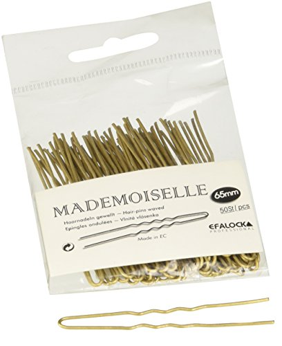 Efalock Professional Mademoiselle Haarnadel, 65 mm, gold, 1er Pack, (1 x 50 Stück) (Nadel Haar)