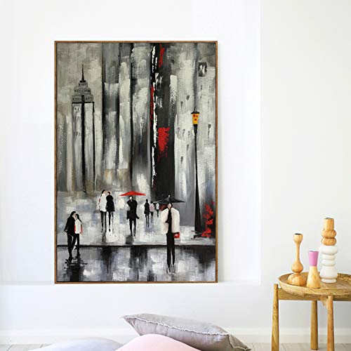 RTCKF Abstrakt Regen in der Stadt Street View Poster und Druck Wandkunst Leinwand Gemälde dekorative Wohnzimmer Wandbild (ohne Rahmen) A4 50x70cm