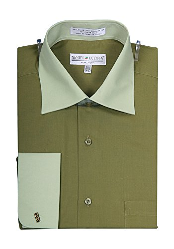 Men's Two Tone French Cuff Shirt Olive