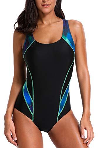 Charmo Basic Sportliche Einteilige Bademode Racer Back Sports Badeanzug Kontrastfarbe Schwimmanzug für Damen XL