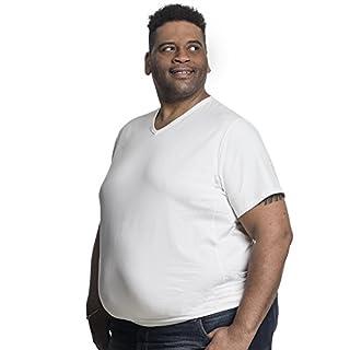 T Shirt Herren V-Hals Doppelpack Basic 2 Stück T-Shirt - Übergrößen bis 8XL für Männer mit Übergröße Bauchumfang Weiß 4XL-B