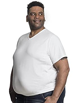 T-Shirt Herren V-hals Doppelpack Basic 2 Stück TShirt Übergrößen XL - 8XL für Männer mit Übergröße Bauchumfang