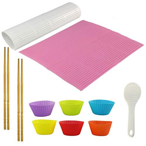 11 Stück Sushi Maker Set, Sushi Matte, Sushi Roll, Sushi Rollmatte für Schimmel-resistent, Anfänger Sushi Kit - 2 Stück Sushi Matte, 1 Stück Sushi-Löffel, 2 Paar Essstäbchen, 6 Stück Silikonbecher Roll Sushi-matte