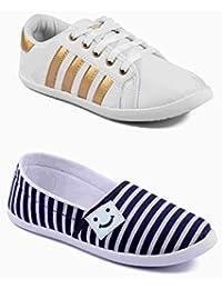 Asian Shoes Combo Amy-52 White Golden & Amy-91 Blue White Women Canvas Shoes
