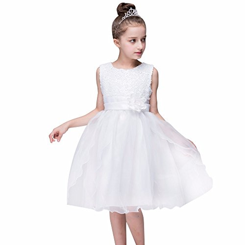 (Kleider Kinderbekleidung Honestyi Kleinkind Baby Mädchen Bling Pailletten Sleeveless Tutu Prinzessin Kleid Outfits Kleidung (Weiß,160))