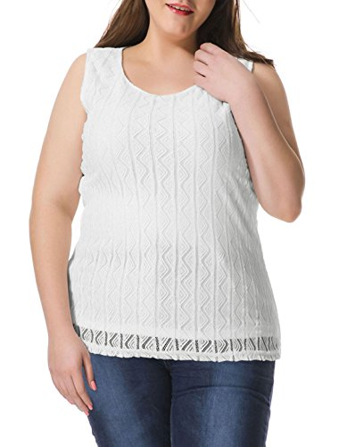 Agnes Orinda Femmes Grande Taille Triangle Chemisier sans manches. white