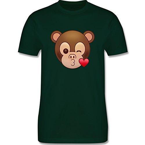 Comic Shirts - Küsschen Äffchen Emoji - Herren Premium T-Shirt Dunkelgrün