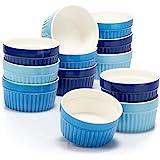 COM-FOUR 12x stampi per soufflé - ciotole in ceramica creme brulee - stampi da forno - ciotole da dessert e stampi per pasticceria per es. Pinna ragù - ogni 200 ml - in diverse tonalità di blu