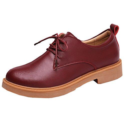 Kotzeb Scarpe Oxford Donna Faux Pelle Scarpa Stringata Derby Shoes Moda Office Work Casual Tacco 3 CM Pumps Britannico Beige Nero Marrone Rosso 35-40 Rosso