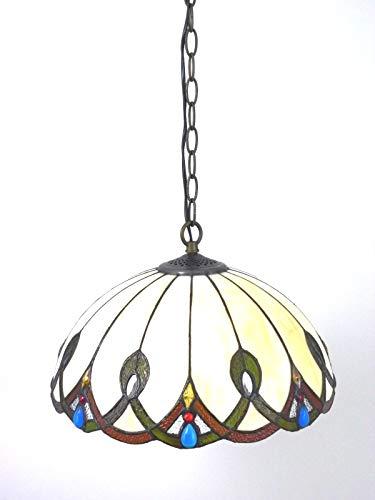 Bella-Vita Dapo Tiffany Pendelleuchte Pendellampe Hängeleuchte Hängelampe Chantal aus echtem Tiffany-Glas Deckenleuchte Deckenlampe Handarbeit -