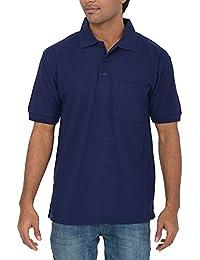 Comfort Plus Men's Casual Collar T Shirt With Pocket ( Navy )