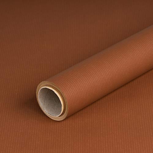 Geschenkpapier Braun, Kraftpapier, gerippt, 60 g/m², Geburtstagspapier, Weihnachtspapier - 1 Rolle 0,7 x 10 m