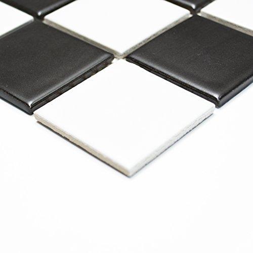 Schwarz-weiß-mosaik-fliesen (Fliesen Mosaik Mosaikfliese Keramik Schachbrett schwarz weiß matt 5mm NEU #255)