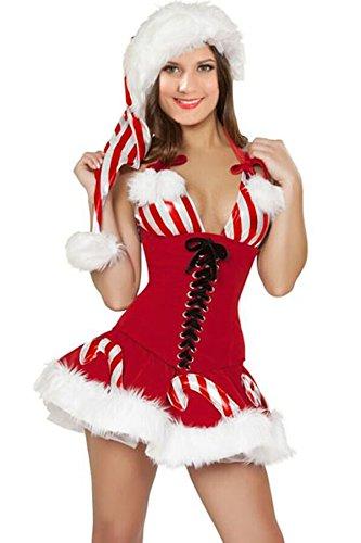 Preisvergleich Produktbild Neue Frau 3Stück Candy Cane Weihnachtskostüm Santa Claus Weihnachten Dessous Eine Größe passt 10–12
