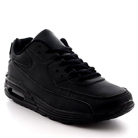 Hommes Mode Bulle D'air Sport En Marchant Chaussures Poids Léger Formateurs - Noir - UK8/EU42 - BS0086