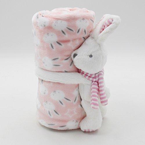 BAYTTER® Baby Einschlagdecke Erstlingsdecke Babydecke aus Flanell für Kinderwagen Buggy Schlafdecke, Mädchen und Junge CE weich und atmungsaktiv, BPA-frei und formaldehydfrei (Pinker Hase)