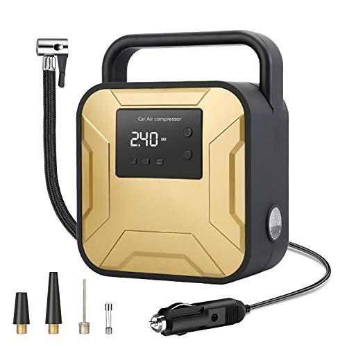 Trayousin Elektrischer Kompressor 12V Tragbare Luftpumpe 150 PSI Druckluftkompressor für Auto Fahrrad Motorrad mit LED Notfall Licht