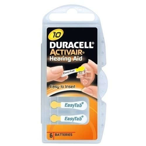 Duracell Activair Size 10 (Yellow tab) Hearing Aid Battery x60 (10 Packs of six Cells)