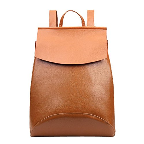 Kangrunmy®Donne moda scuola viaggio stile Satchel Bag borsa zaino Marrone