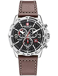 791cfa04b89 Swiss Military Men s Quartz Watch with Black Dial Chronograph Display and  Brown Leather Strap 6-