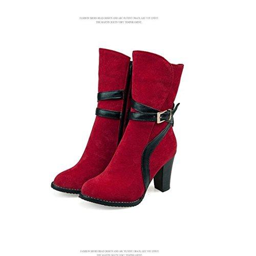 ZQ@QX In autunno e in inverno, fibbia spessa con elegante e versatile breve stivali e un gran numero di scarpe da donna red