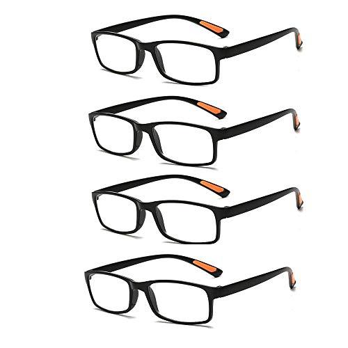 QJSY (4 Stück) Reader schwarz Lesebrille entfernt Presbyopiebrille +1,0 bis + 4,0 Grad Optiker empfehlen Sehschärfe verringern Brillen ablehnen