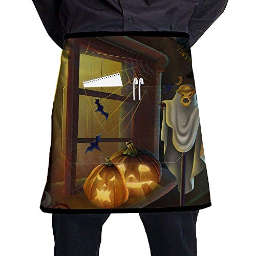 Aprons for Sale Half Short Aprons Happy Halloween Waist Apron with Pockets Kitchen Restaurant for Women Men Server