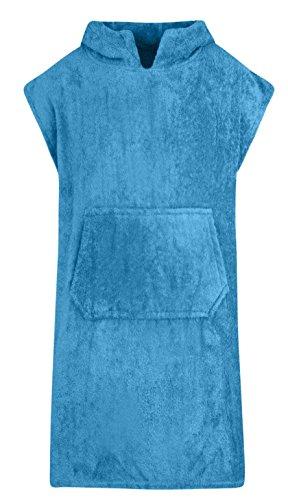 Für Kinder - Unisex 100% Baumwoll Bademantel Poncho mit Tasche Frottiermantel Handtuch Schwimmen Surfen - Alter 10-13, Aquamarin