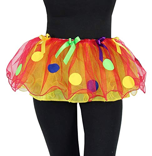 Foxxeo Deluxe Petticoat Tutu rot gelb mit Punkten Erwachsene Fasching Clown Ballett Rock Tanz ()