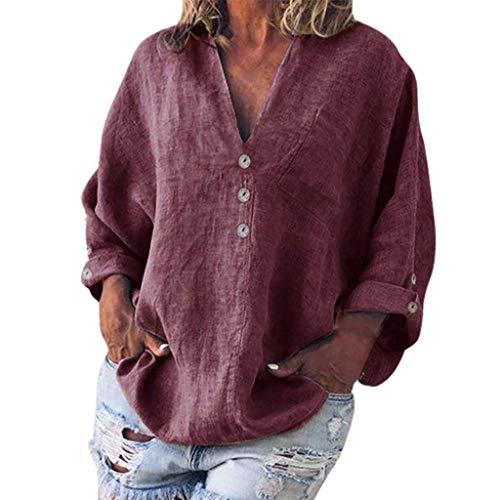 Wein-grünes T-shirt (QIMANZI Bluse Damen Mode Übergröße Solide Beiläufig LeinenV-Ausschnitt T-Shirt(C Wein,3XL))