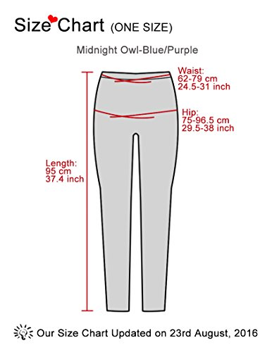 Kimring Women's Halloween Printed Full Length Elastic Tights Skinny Leggings Midnight Owl-Bleu/Violet