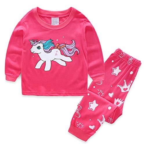 Pijamas Unicornio Rosa Camiseta y Pantalones Conjunto Pijama Dos Piezas Bebe Niña Manga Larga Ropa de Primavera y otoño 2-7años/4T/100CM