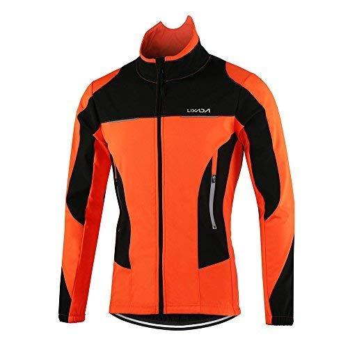Lixada Herren Fahrradjacke, wasserdicht, atmungsaktiv, Lange Ärmel, Wasserdichte Jacke + Fahrradhose, Hose, Herren, Orange, X-Large -