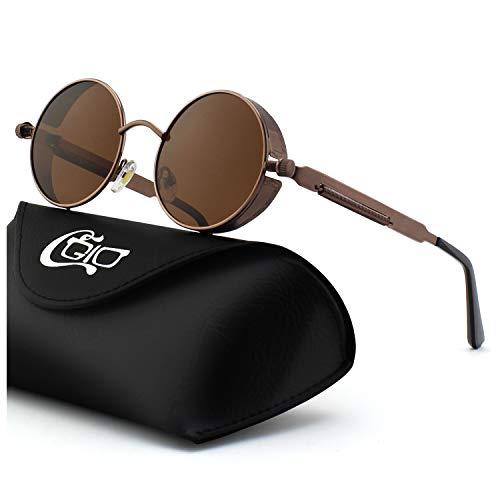 ba59eb09d9 CGID E72 Steampunk estilo retro inspirado círculo metálico redondo gafas de  sol polarizadas para hombres