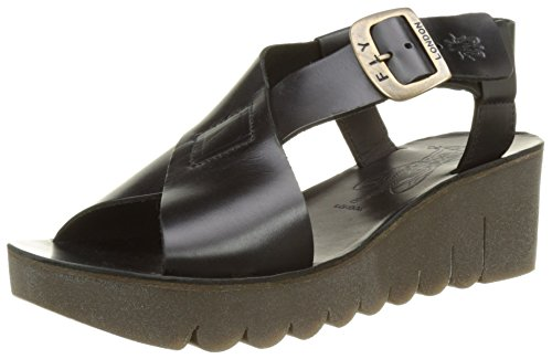 Fly London P143880003, Sandali con Zeppa Donna Nero (black 000)